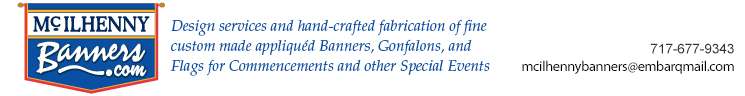 Design services and hand-crafted fabrication of fine custom made appliquéd banners, gonfalons, and flagsusemap=